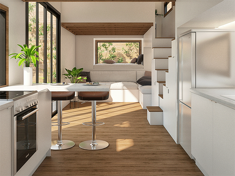 rendering of white tiny home kitchen with stainless steel appliances