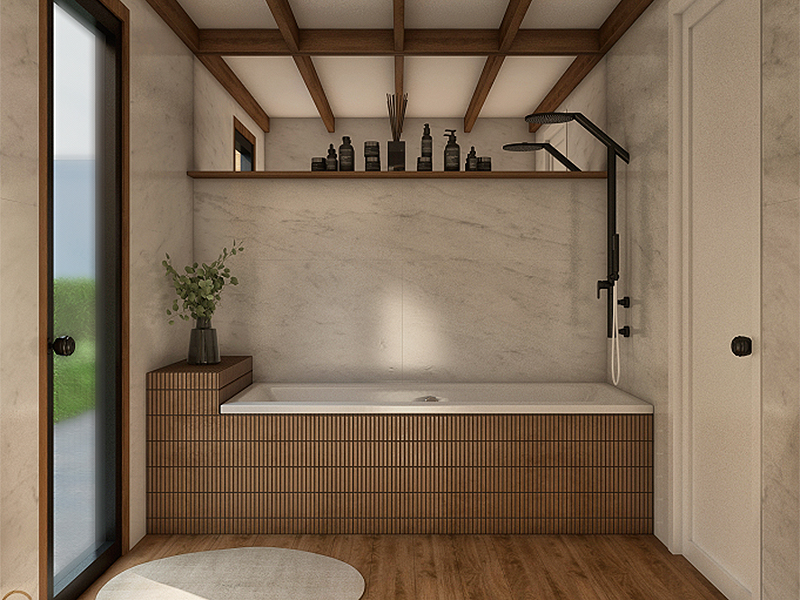 rendering of large tub in tiny home bathroom with marble walls