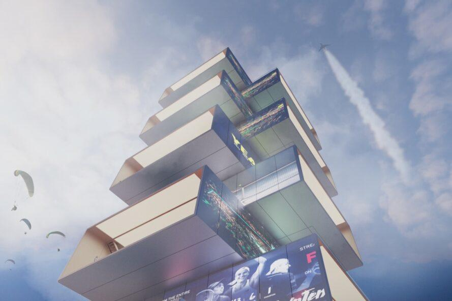 rendering of skyscraper with staggered and stacked floors