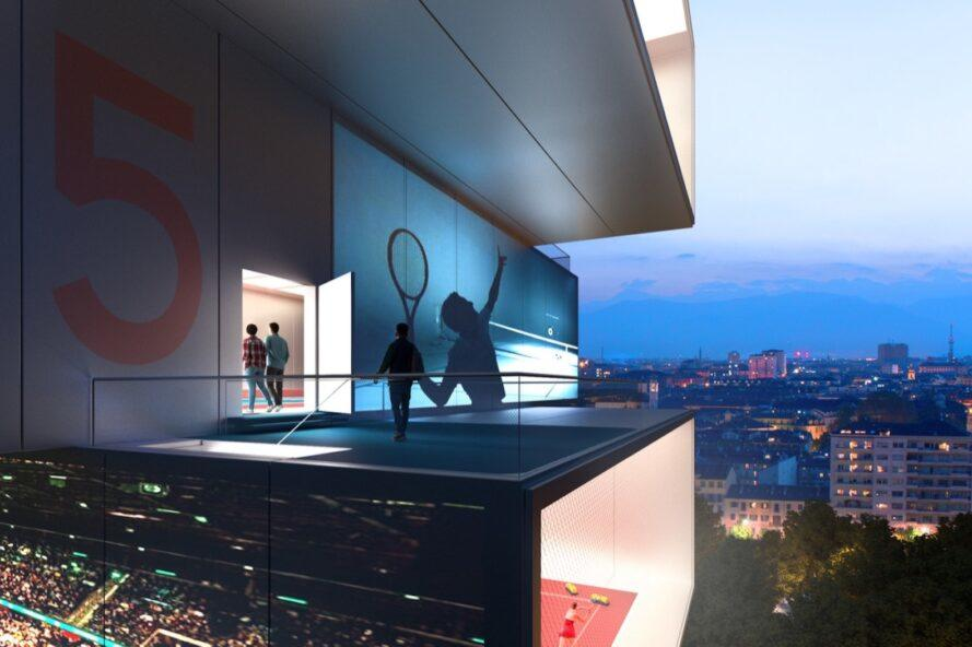 rendering of people playing tennis on a balcony