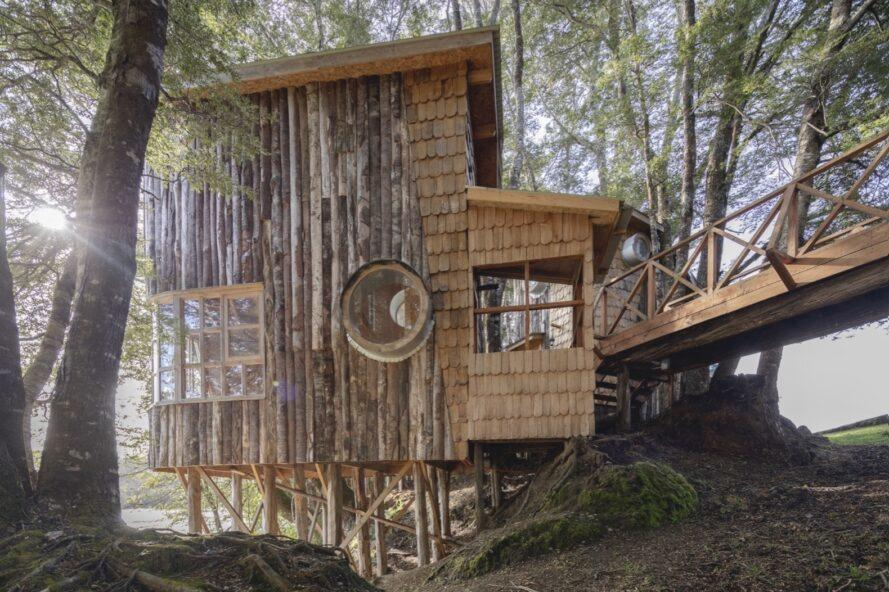 wood cabin elevated on timber piles