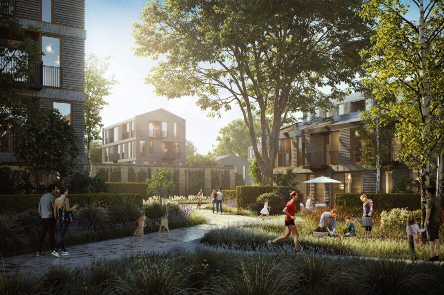 A rendering of people milling around a grassy courtyard.