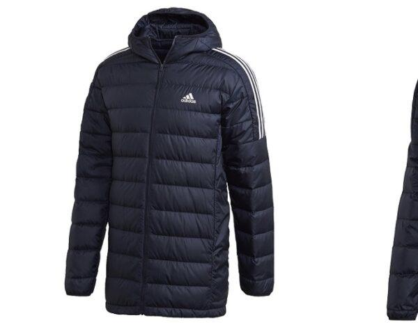 From left to right, a puffy black Adidas vest, a puffy black Adidas hoodie and a puffy black Adidas jacket.