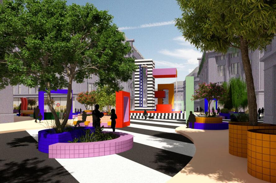 rendering of colorful benches and planters in a park