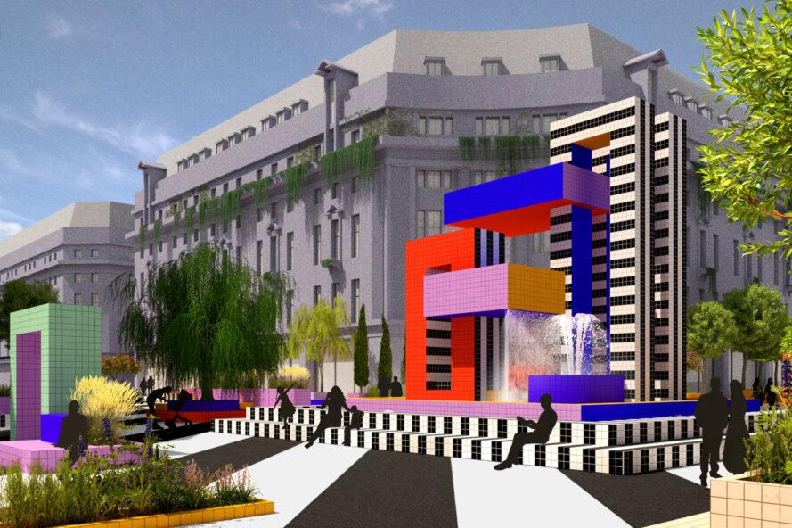 rendering of colorful, geometric water fountain in the middle of Oxford Street