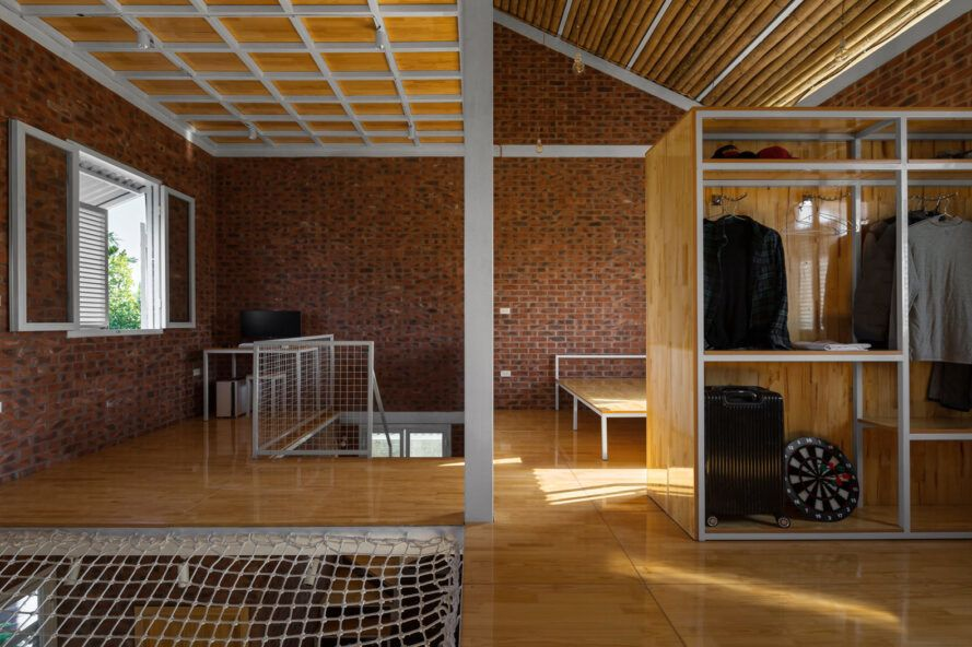 upper floor with brick walls and netted flooring