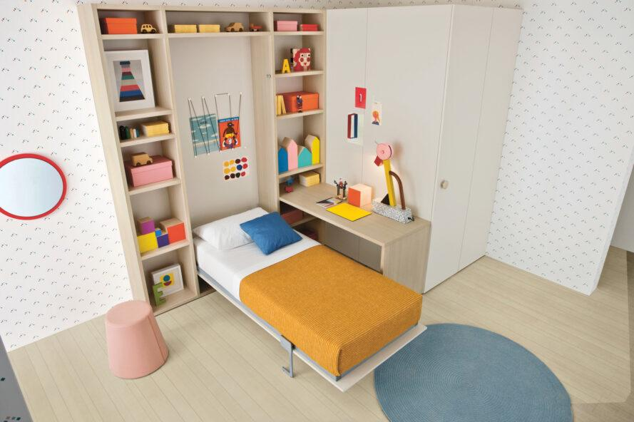 child's murphy bed next to a small wood desk