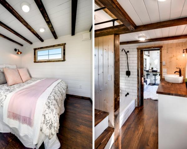 On the left, white bed in small room with wood-beamed ceilings. On the right, small hallway with wood floors and white walls
