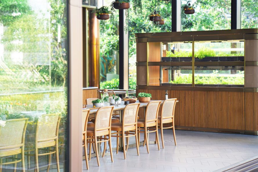 rattan chairs at a wood dining table