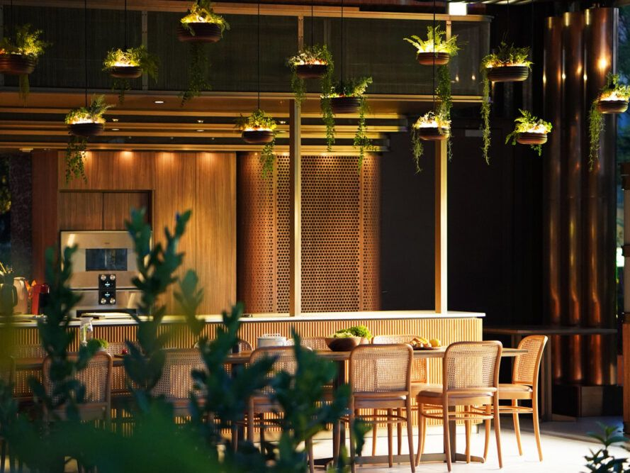 hanging plants above a long wood dining table