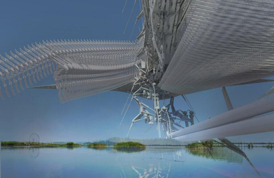 rendering of steel beams formed together to create an aviary