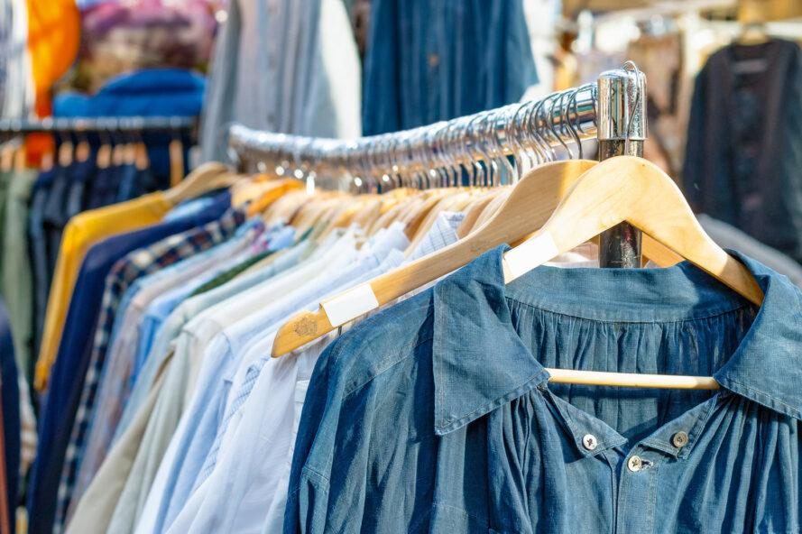 rack of secondhand clothing