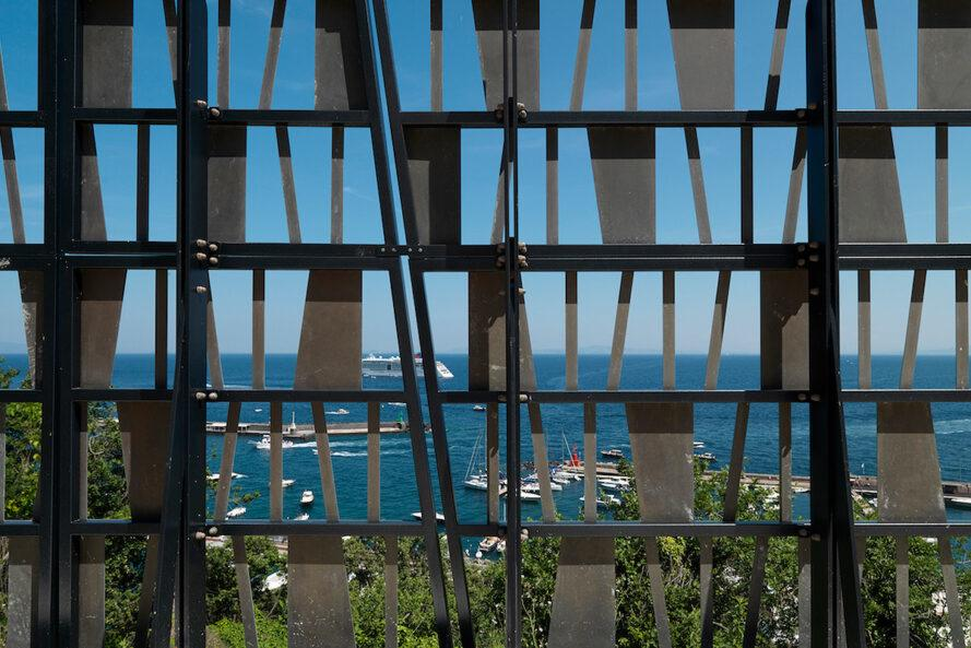 perforated wall overlooking the sea