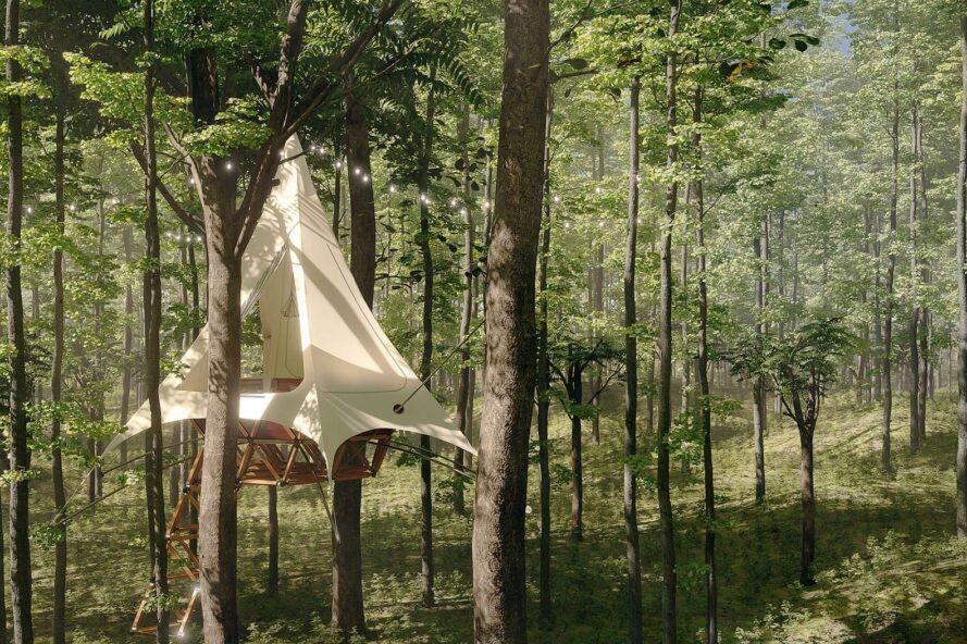 rendering of tent-like treehouse in a forest