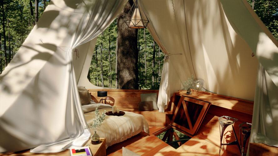 treehouse interior with large bed and wood table