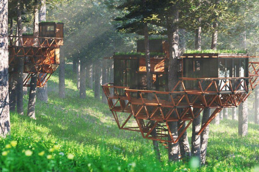 rendering of modular, geometric treehouse with wood decks