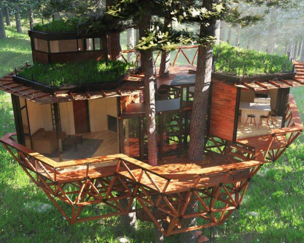 rendering of geometric wood treehouse with green roofs