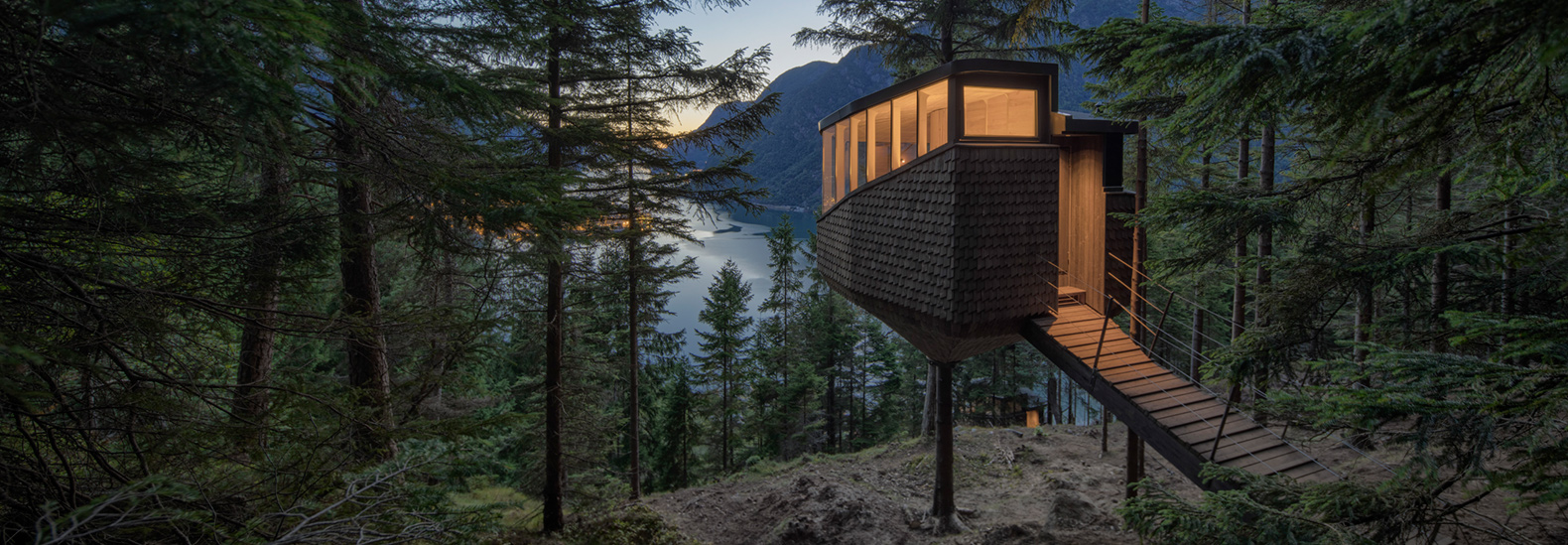 Suspended treehouses provide epic views of a fjord in Norway