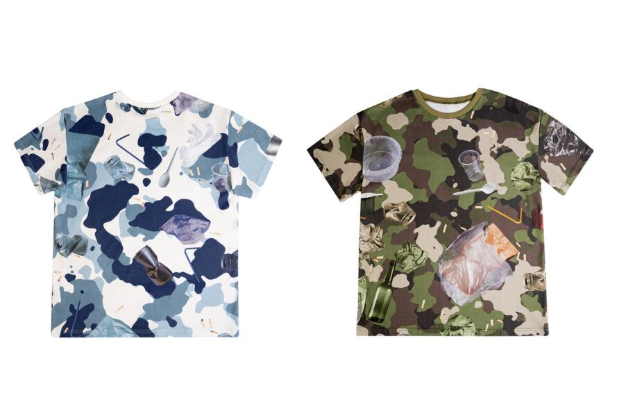 Two images: to the left, a blue and white camo t-shirt. To the right, a green camo shirt.