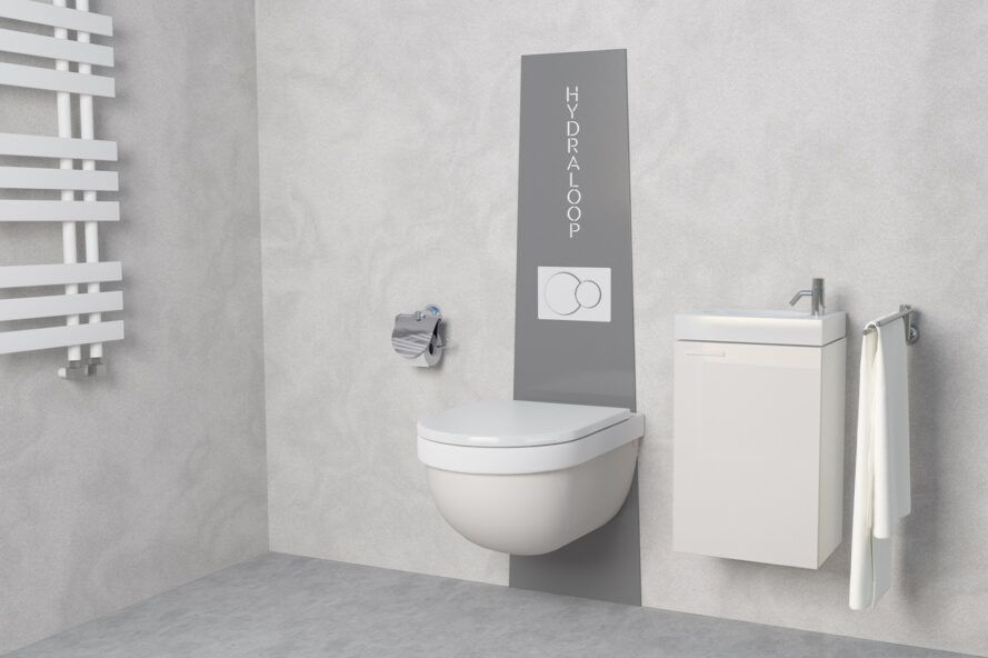 toilet attached to water recycling machine