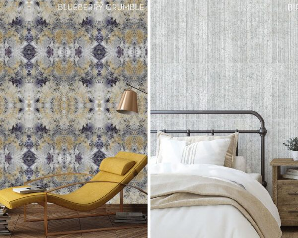 On the left, yellow chair near wall with blue and yellow wallpaper. On the right, bed in front of gray and white wallpaper.