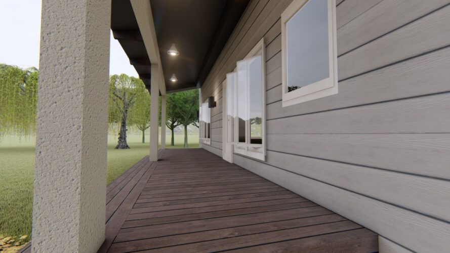 rendering of covered wood front porch