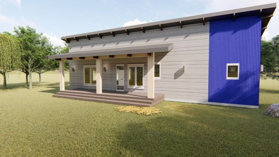 rendering of gray and bright blue home with porch