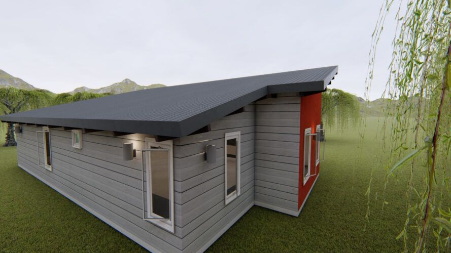 rendering of gray and red home with large roof ready for solar panels