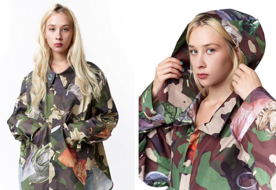 Two images: to the left, a front-facing person wearing green and black camo with trash woven into the design. To the right, a sideview of a person pulling the hood up on their camo jacket.