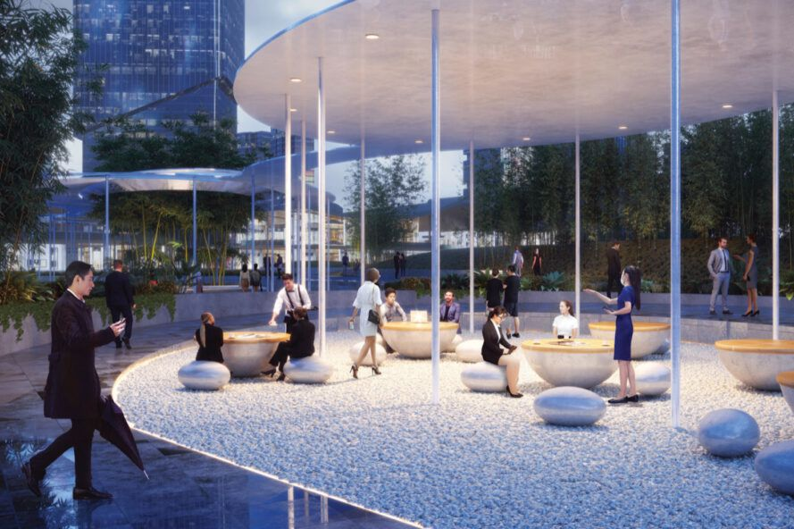 rendering of patio tables on a covered walkway