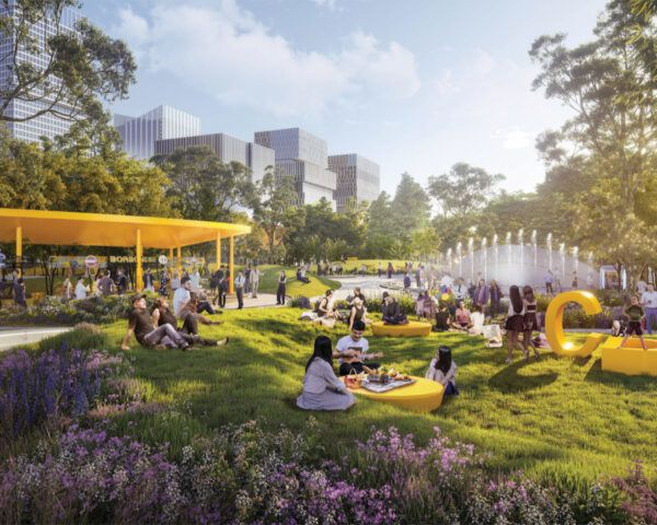 rendering of park with yellow furniture