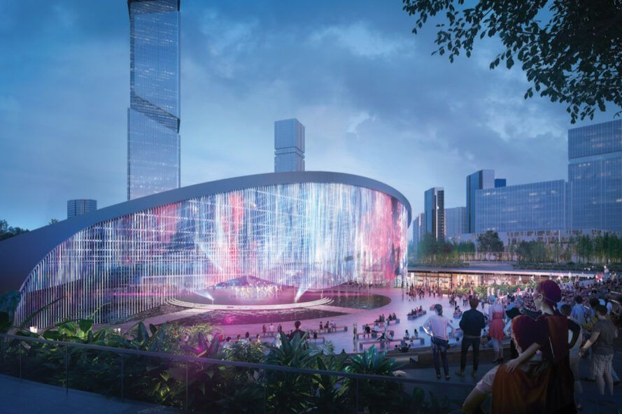 rendering of colorful lights at an outdoor music venue