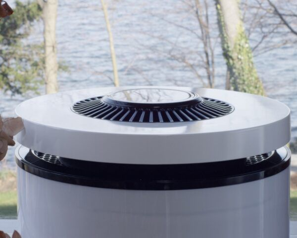 black and white round air purifier