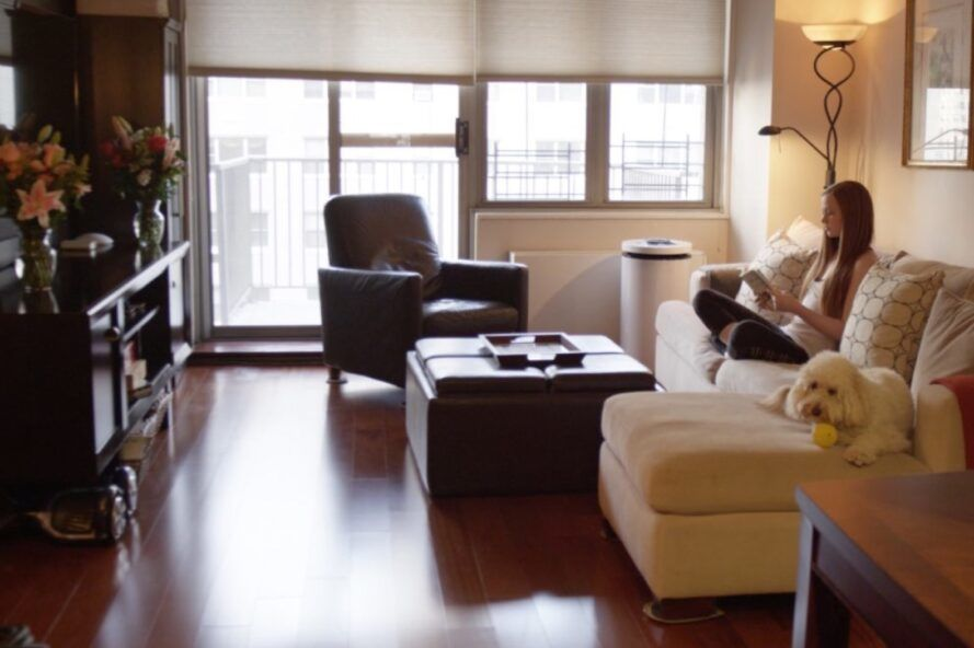 black and white air purifier in a living room