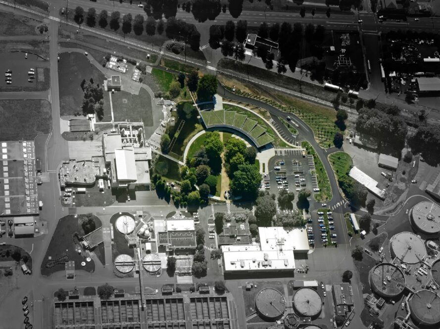aerial view of building with green roofs