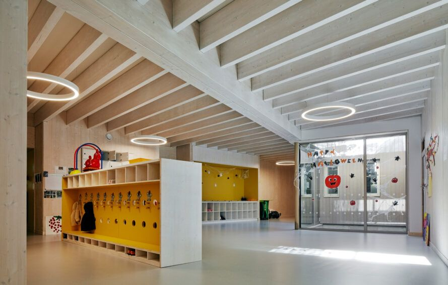 yellow cubbies in a timber school building