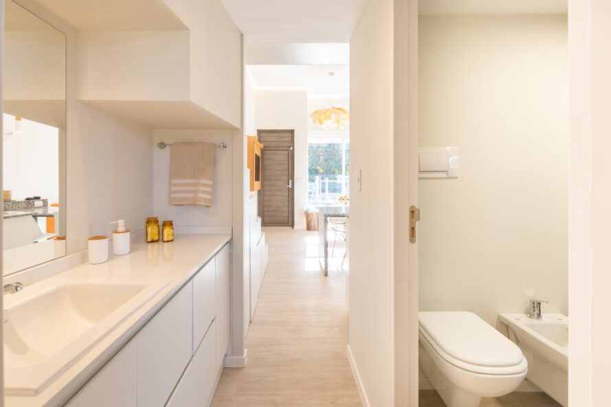 bright white bathroom in a tiny home