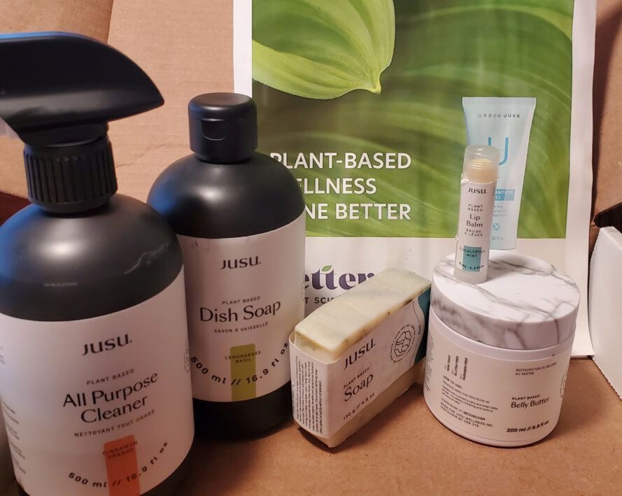 cardboard box filled with natural home cleaning and body care products