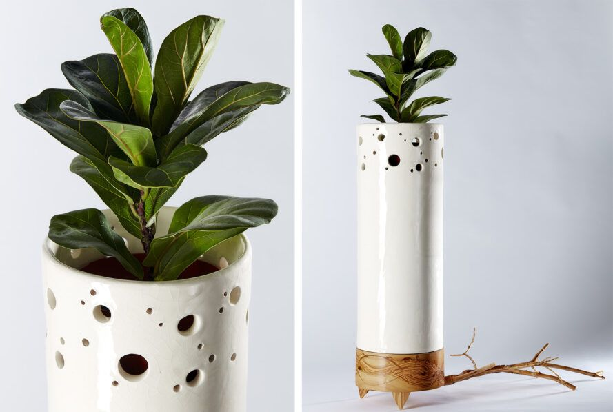To the left, a close-up of the top of the tall planter. To the right, an overview shot of the whole planter.