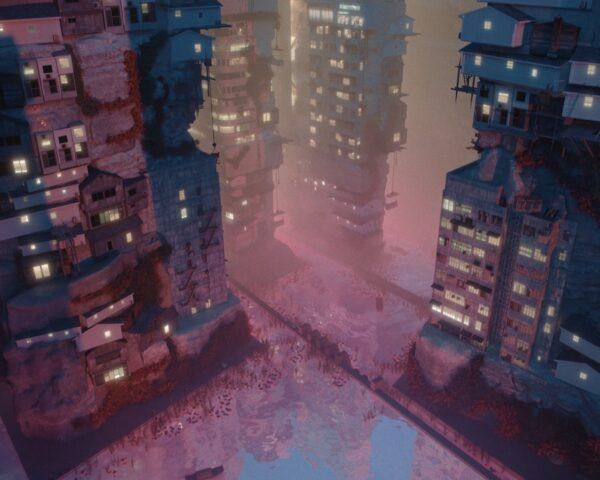 film screenshot of tall towers