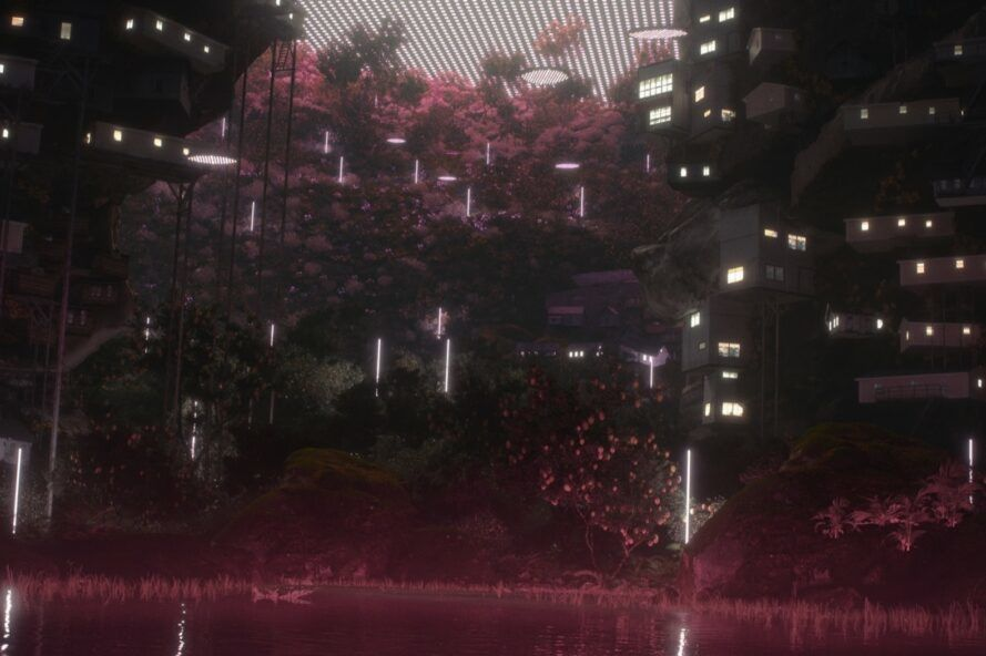 rendering of trees growing around a pond with skyscrapers in the background