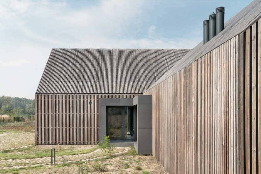 home with thin wood slats for cladding