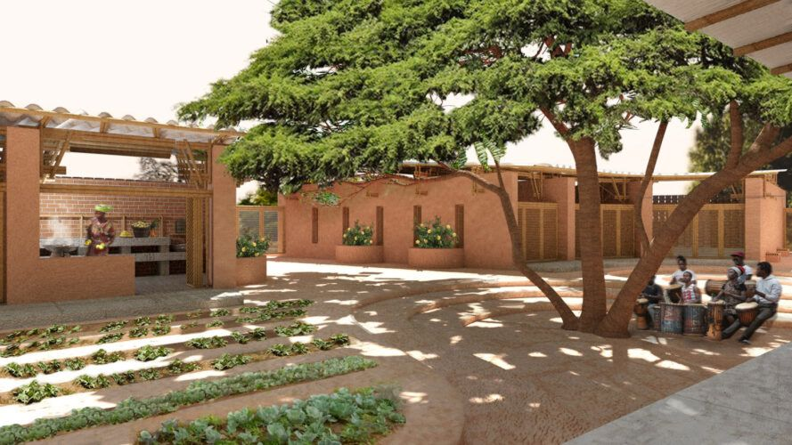 rendering of gardens outside an adobe brick school building