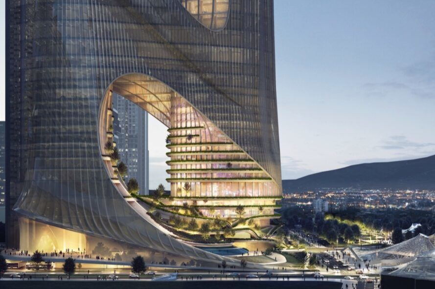 rendering of curvaceous tower with garden terraces