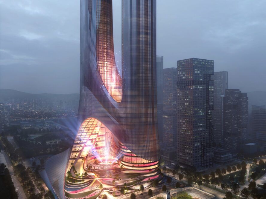 rendering of building with two glass towers lit up in pink lights at dusk