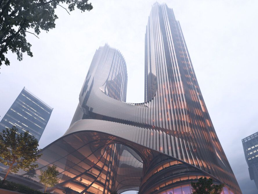 rendering of two towers attached at a shared base