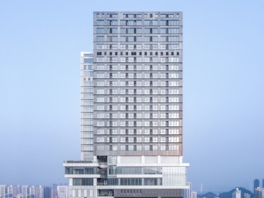 tall tower with rows of windows on each floor