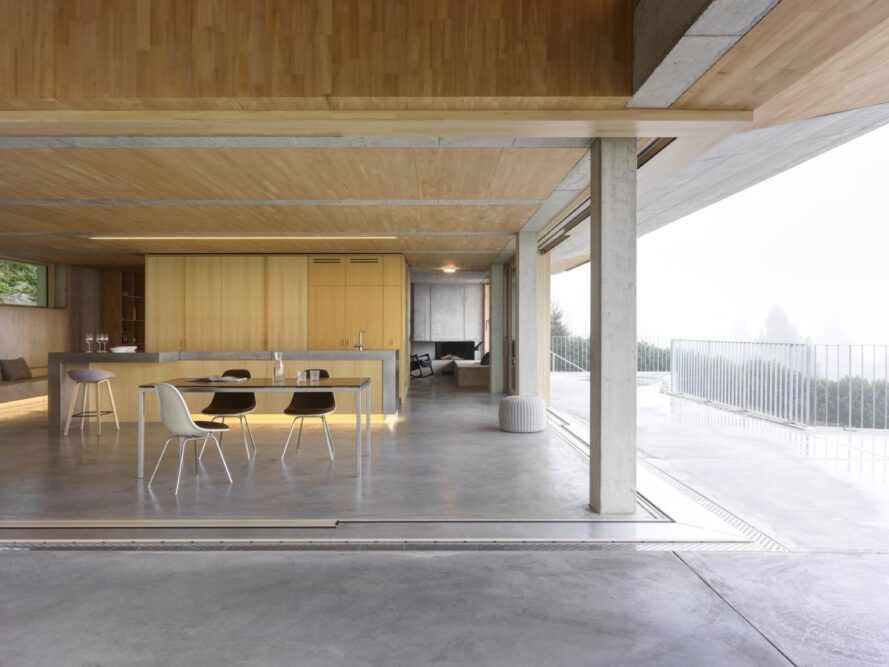 dining table near walls open to outdoors