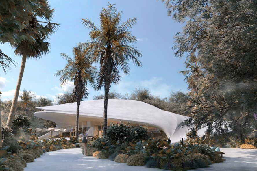 rendering of white villa with curved roof