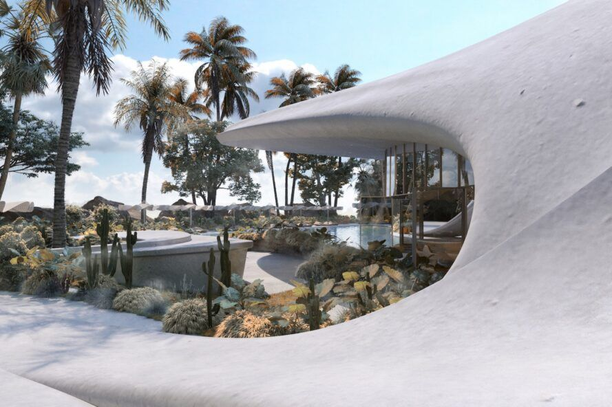 rendering of curving roof of a white villa